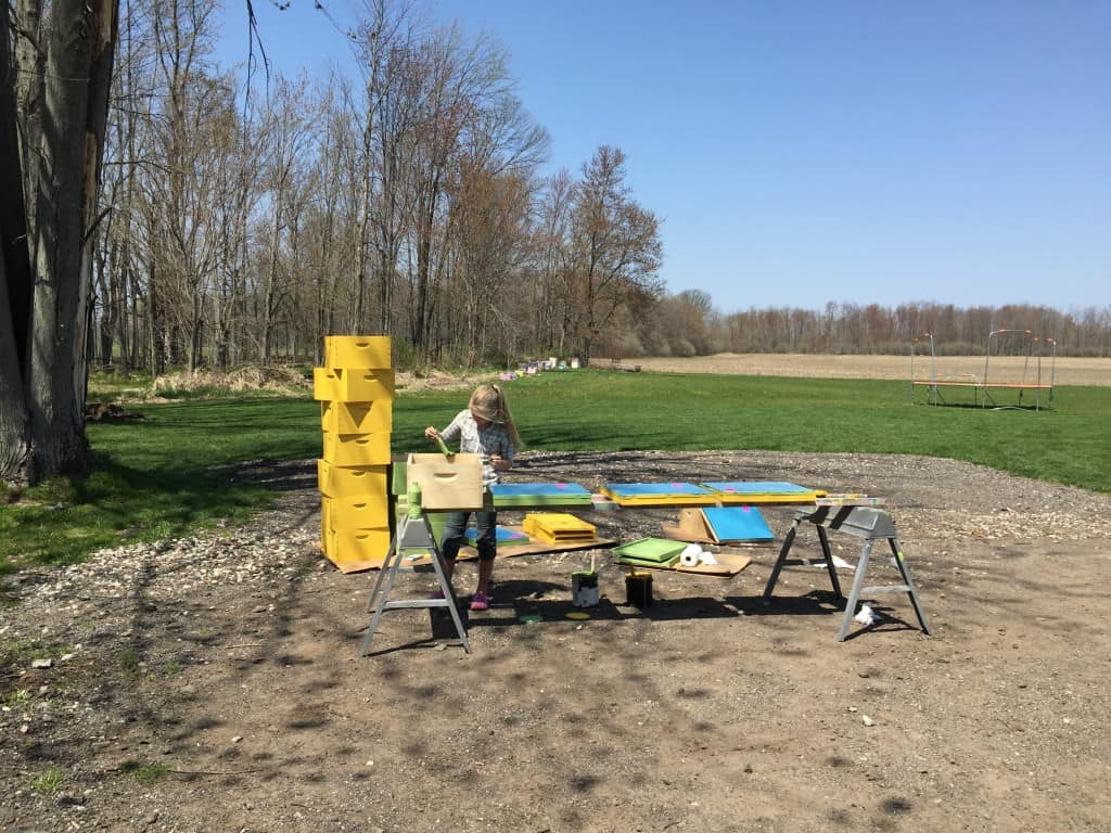 Rachelann outside painting hive bodies on a beautiful early spring afternoon.