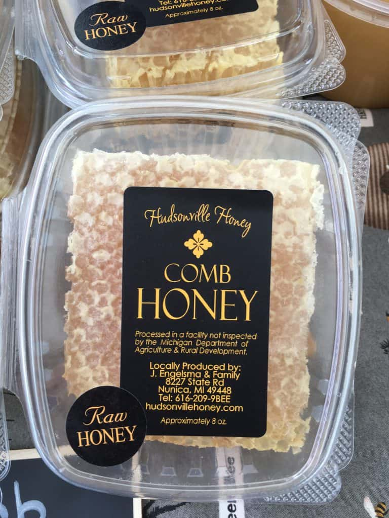 A section of comb honey.